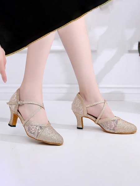 Women's Sparkling Glitter Closed Toe With Lace Chunky Heel Sandals
