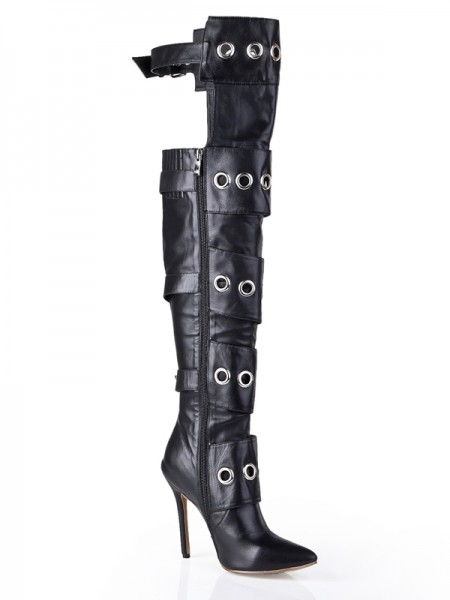 Women's Cattlehide Leather Stiletto Heel With Buckle Knee High Black Boots