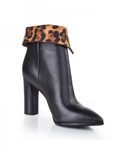 Women's Sheepskin Closed Toe Chunky Heel With Zipper Booties/Ankle Black Boots