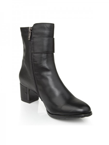 Women's Cattlehide Leather Chunky Heel With Zipper Booties/Ankle Black Boots