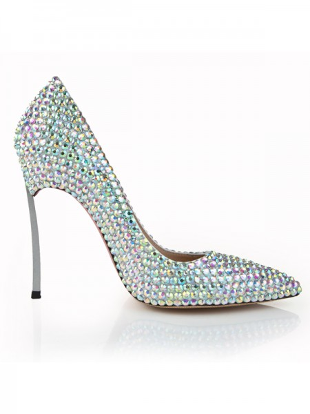 Women's Stiletto Heel Closed Toe Patent Leather With Rhinestone High Heels