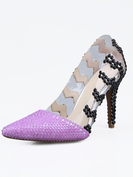 Women's Patent Leather Closed Toe Stiletto Heel With Beading High Heels