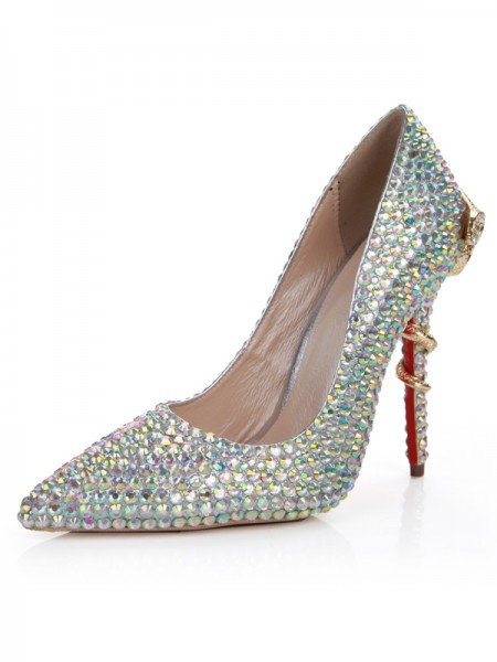 Women's Sheepskin Stiletto Heel Closed Toe With Rhinestone High Heels