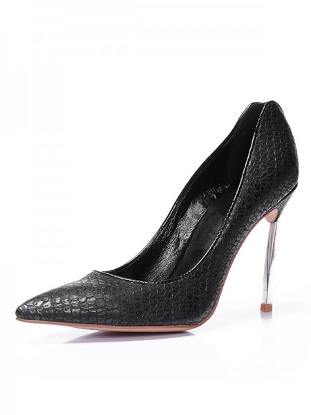 Women's Black Sheepskin Closed Toe Stiletto Heel High Heels