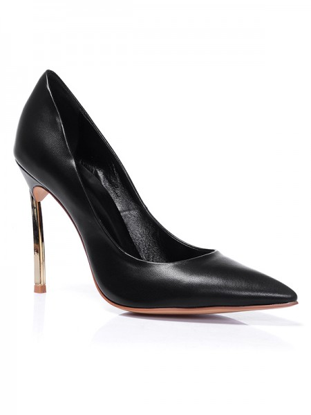 Women's Black Closed Toe Sheepskin Stiletto Heel Office High Heels