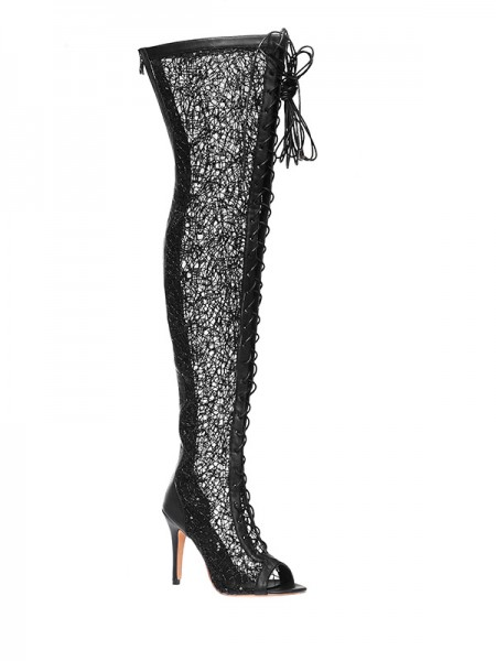 Women's Lace Platform Peep Toe Stiletto Heel With Lace-up Over The Knee Black Boots