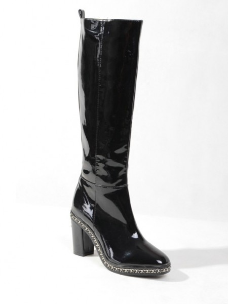 Women's Patent Leather Closed Toe Platform Chunky Heel With Chain Knee High Black Boots