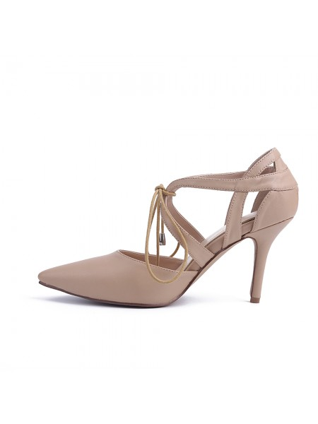 Women's Sheepskin Closed Toe Stiletto Heel With Lace-up Party Sandals Shoes