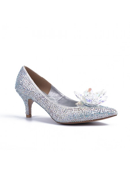 Women's Closed Toe Cone Heel With Crystal Flower Silver Wedding Shoes
