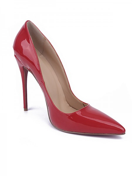 Women's Red Closed Toe Stiletto Heel Patent Leather High Heels