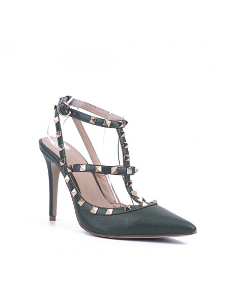 Women's Stiletto Heel Cattlehide Leather Closed Toe With Rivet Sandals Shoes