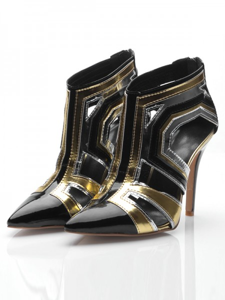 Women's Stiletto Heel Patent Leather Closed Toe With Zipper Ankle Black Boots