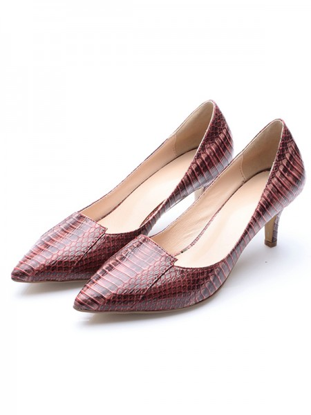 Women's Patent Leather Closed Toe Cone Heel With Crocodile Print High Heels
