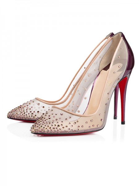 Women's Patent Leather Closed Toe Stiletto Heel With Crystal High Heels
