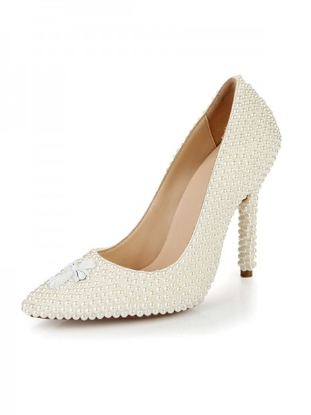 Women's Stiletto Heel Closed Toe Patent Leather With Pearl Ivory Wedding Shoes