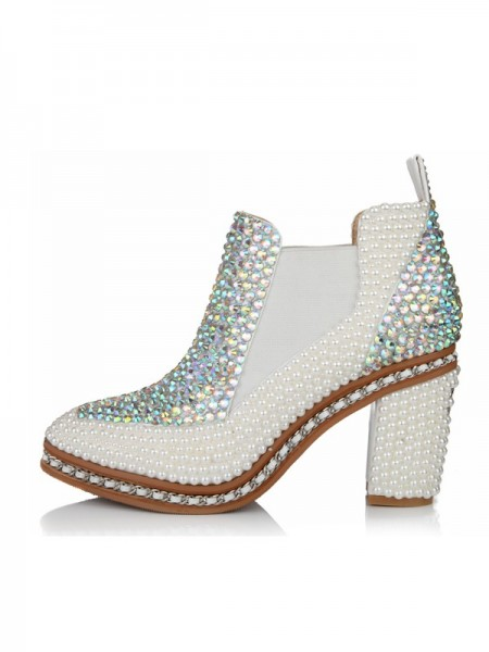 Women's Patent Leather Chunky Heel Closed Toe With Pearl Booties/Ankle White Boots