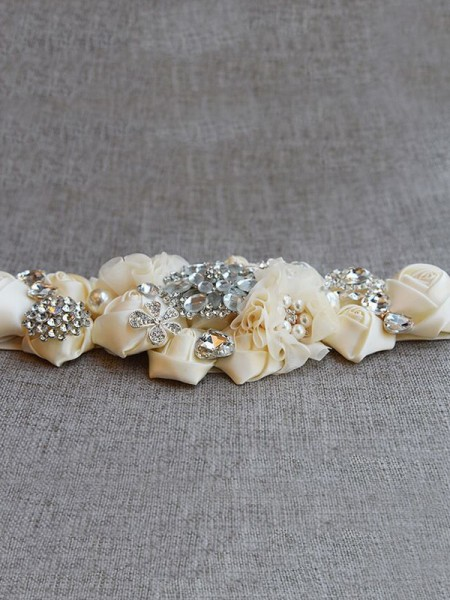 Beautiful Satin Sashes With Rhinestones/Imitation Pearls