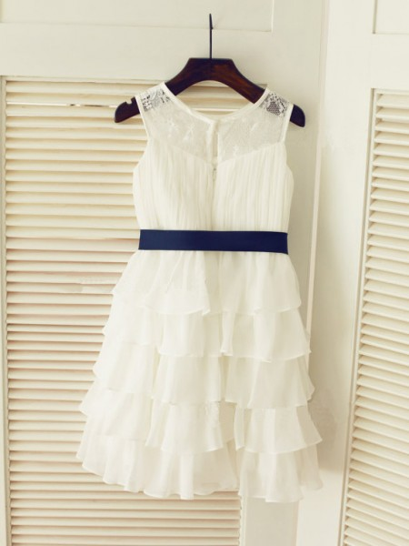 A-Line/Princess Scoop Chiffon Sleeveless Tea-Length Ruched Flower Girl Dresses
