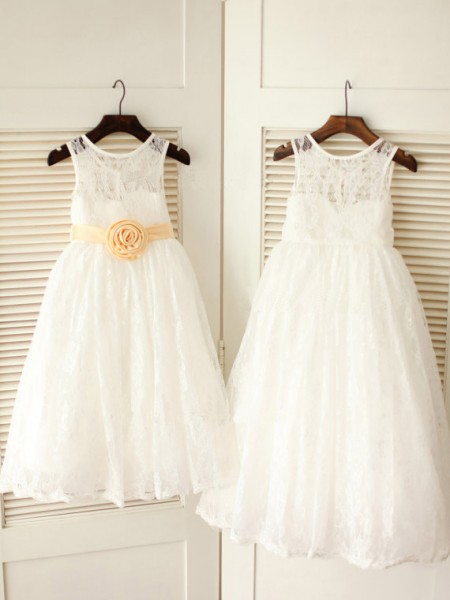 A-Line/Princess Lace Scoop Sleeveless Sash/Ribbon/Belt Ankle-Length Flower Girl Dresses