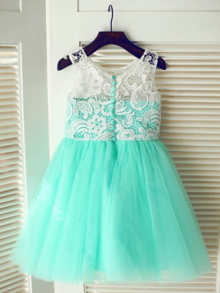 A-Line/Princess Tulle Scoop Sleeveless Lace Tea-Length Flower Girl Dresses