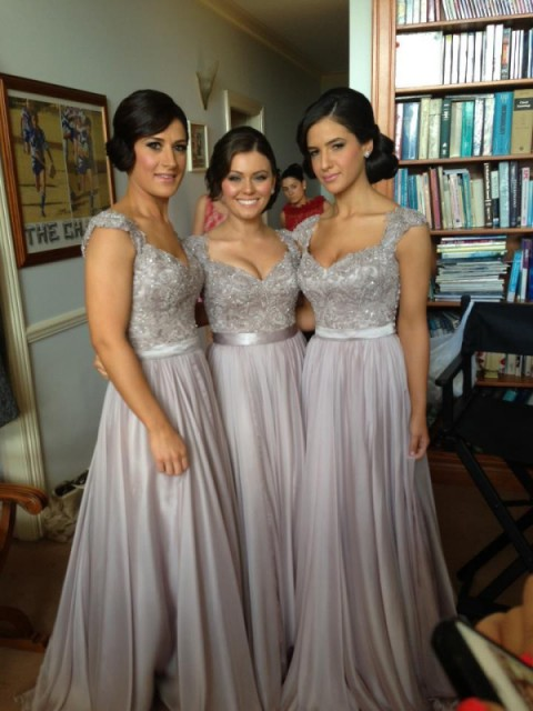 Sheath/Column Chiffon Floor-Length Beading Short Sleeves Bridesmaid Dresses