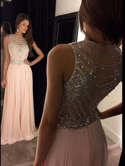 A-Line/Princess Chiffon Sleeveless Crystal Floor-Length Dresses