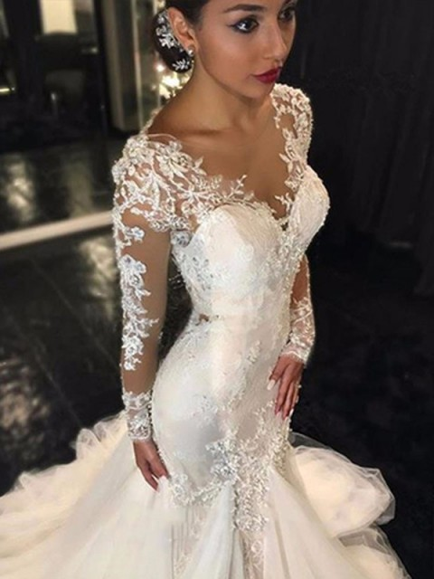 Trumpet/Mermaid Tulle Lace Court Train Long Sleeves Wedding Dresses